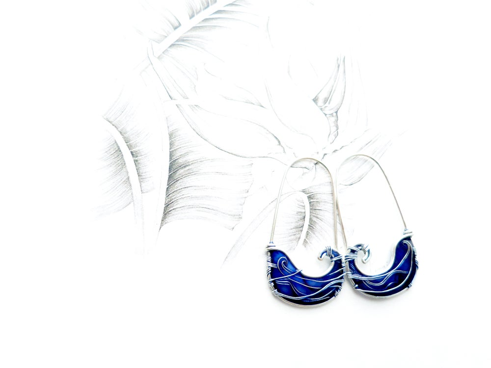 Image of Waves Blue Silver Earrings