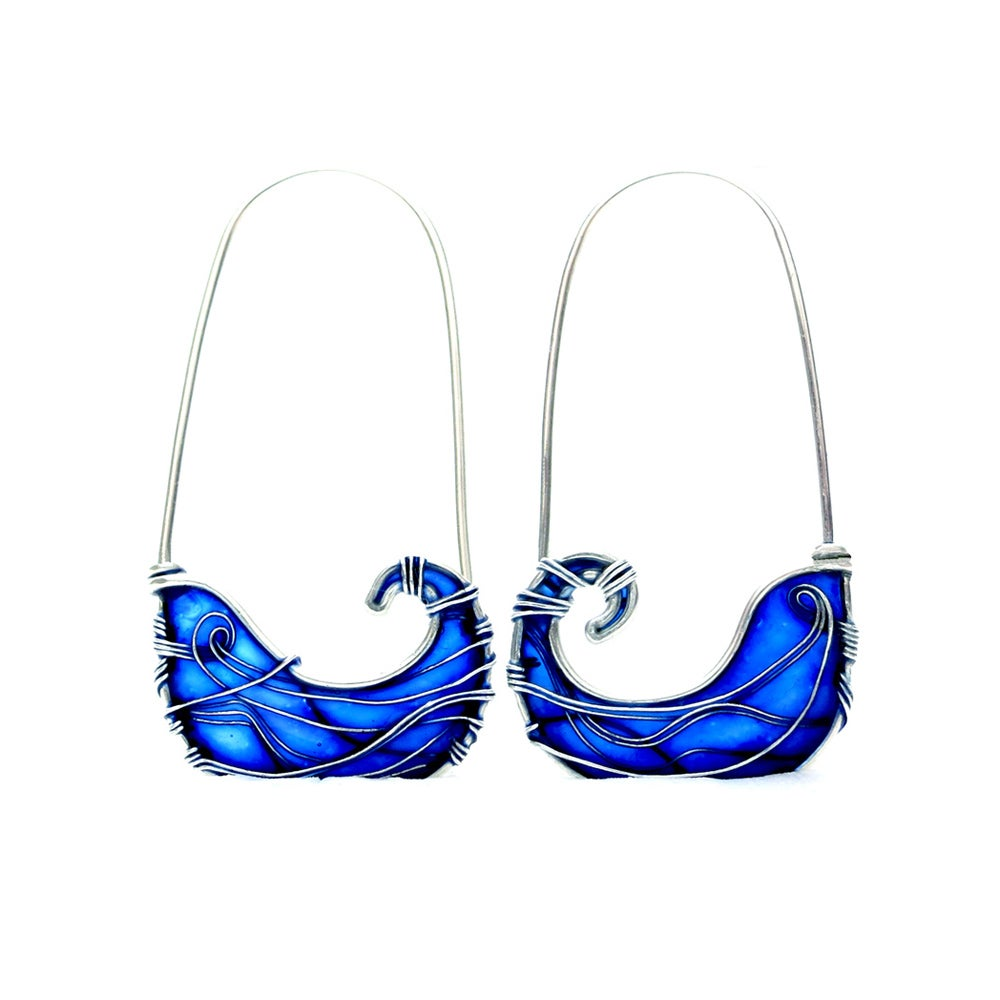 Image of Blue Waves Silver Earrings