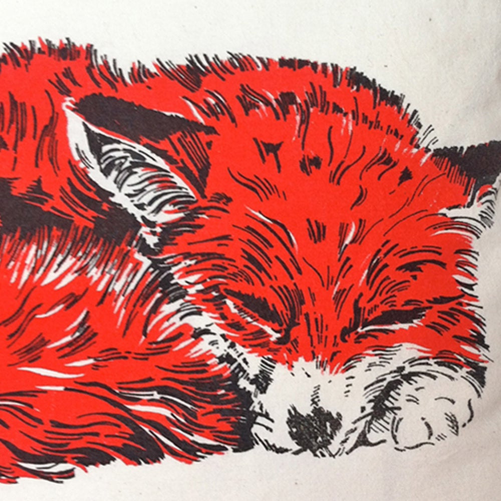 Image of CURLED FOX CUSHION, LINEN.