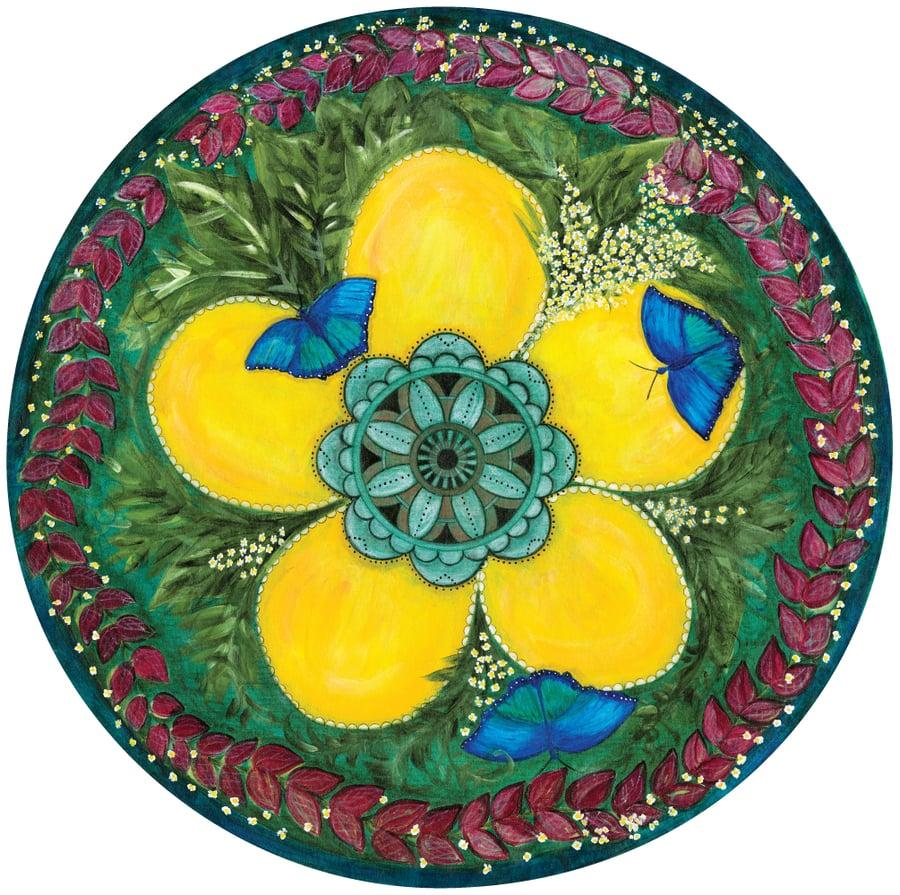 "Image of ""Embracing change""- Blue Butterflies Meditation Mat"
