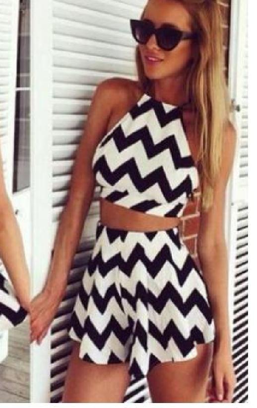 Image of Cute black and white jumpsuit romper