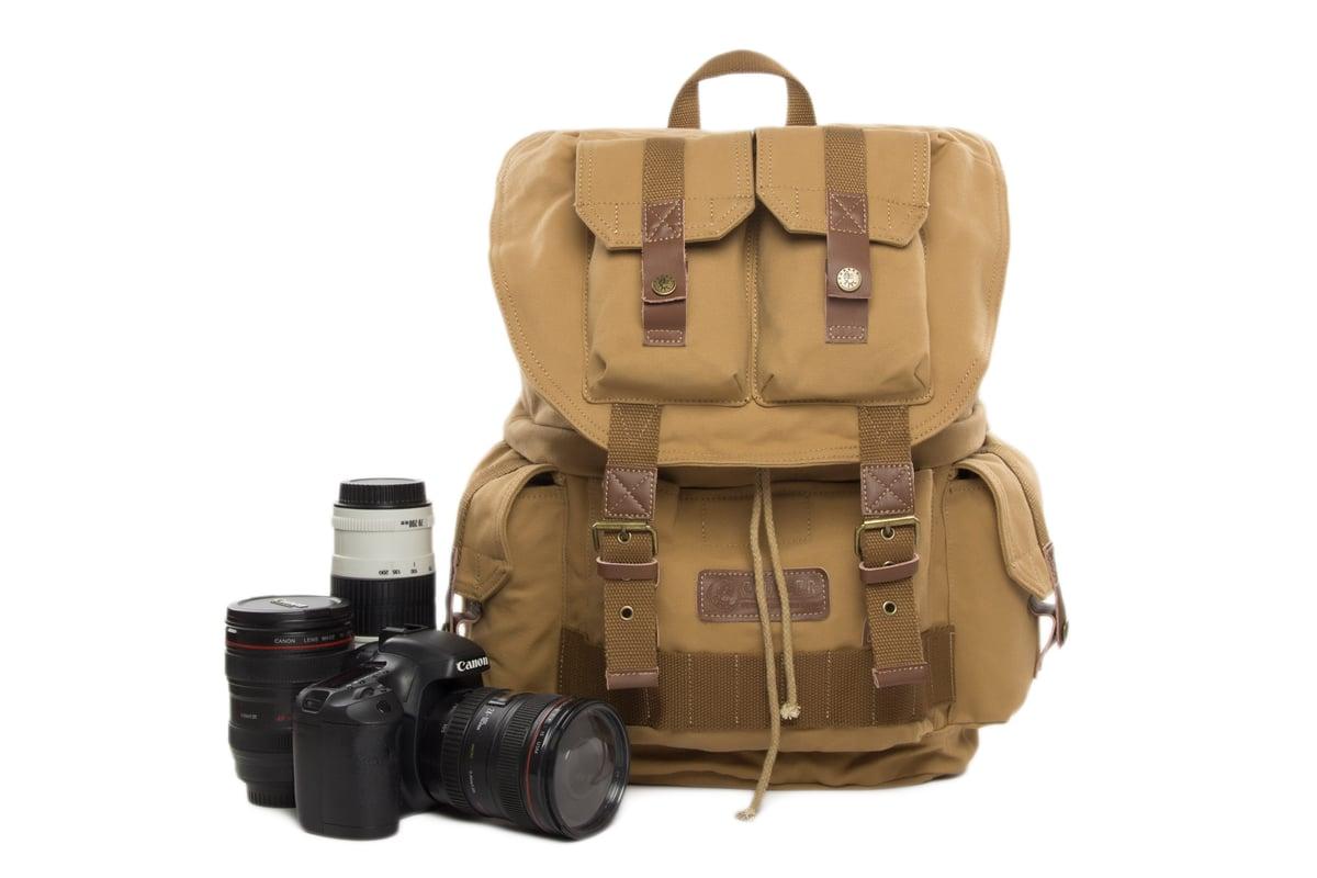 Waterproof Vintage Backpack Dslr Camera Bag Cowhide Canvas Backpack Insert Bag F2001 Yellow I Cam