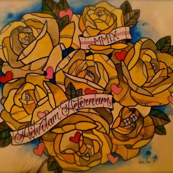 Image of Custom watercolor/digital Wedding Bouquet Painting