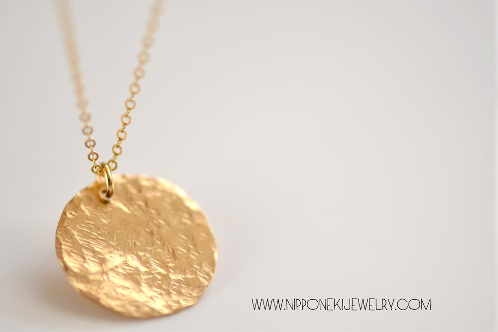Image of Hammered Disc Necklace, Gold Disc Charm, Minimalist Everyday Necklace