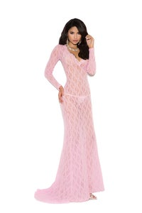 Image of pink long Sexy lingerie gown