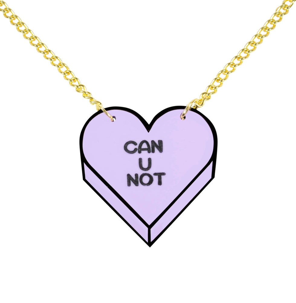 "Image of ""CAN U NOT"" Candy Heart Necklace"