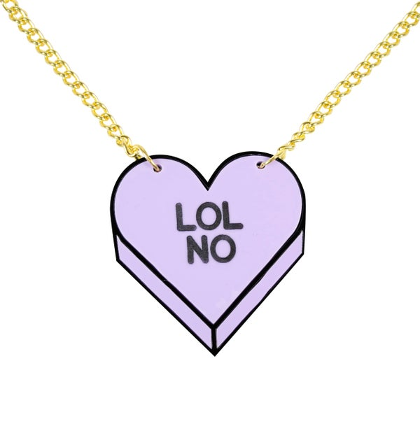 """LOL NO"" Candy Heart Necklace - Black Heart Creatives"