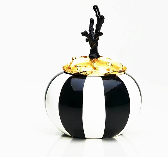 Image of Martinetti Paris Black & White Stripe, Gold and Black Coral Josette Box
