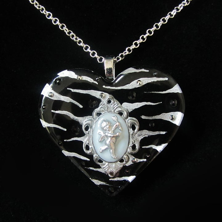Black/Silver Zebra Cameo Resin Heart Pendant - ON SALE - WAS £15 NOW £10