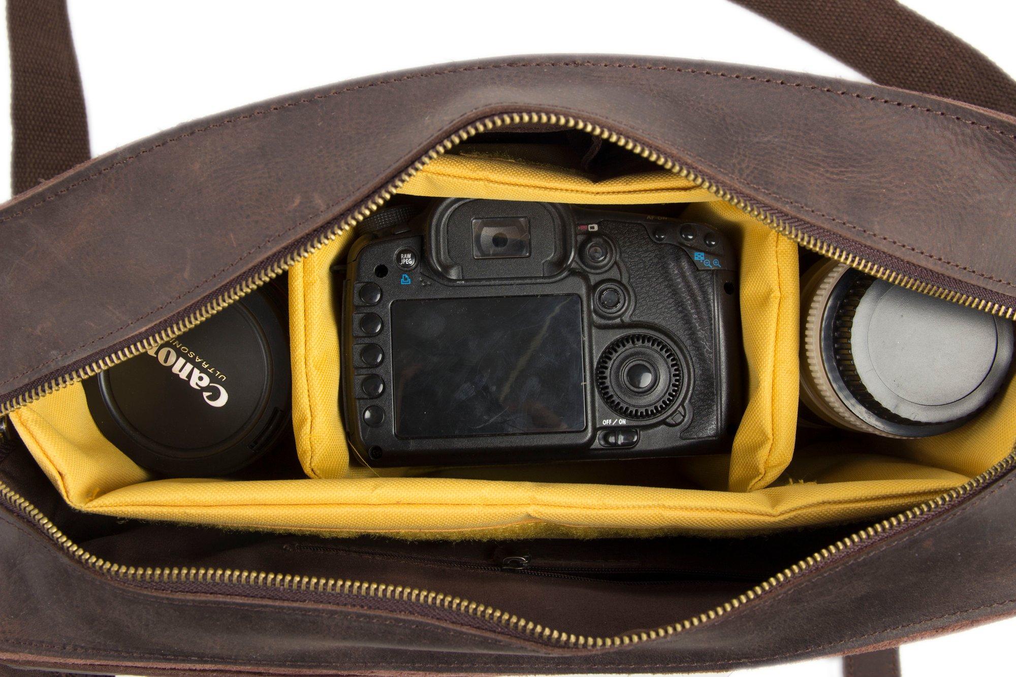 Image Of Genuine Leather Dslr Camera Bag Briefcase 7200