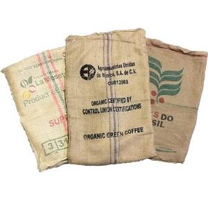 Image of Lot of 4 Used Coffee Bean Burlap Bags - Burlap Coffee Bags - Coffee bean sack - organic recycling