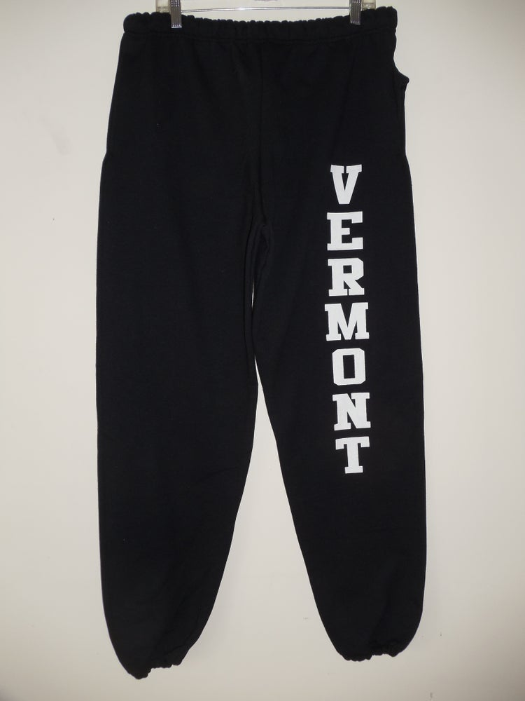 Image of Adult & Youth Vermont Sweatpants 10oz White Vermont on Black - Vermont clothing - 802 clothing