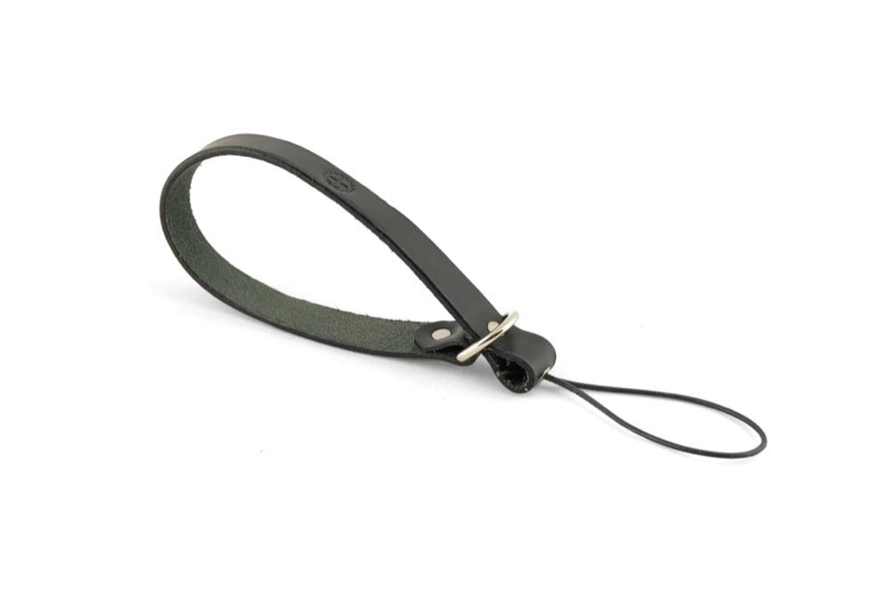 Image of Leather camera wrist strap black