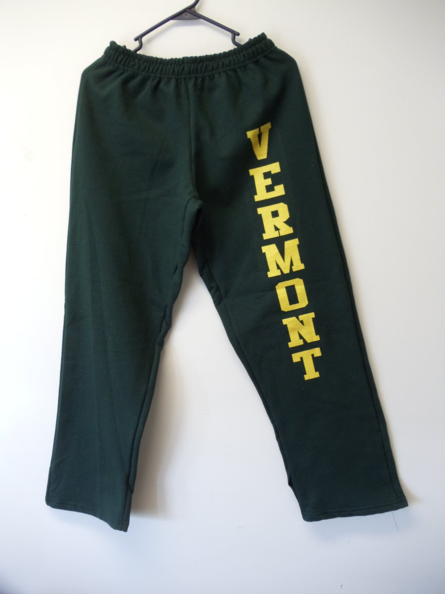 Image of Vermont Sweatpants 8oz - Gold on Green VT Sweats - Vermont clothing - 802 clothing - 802 store