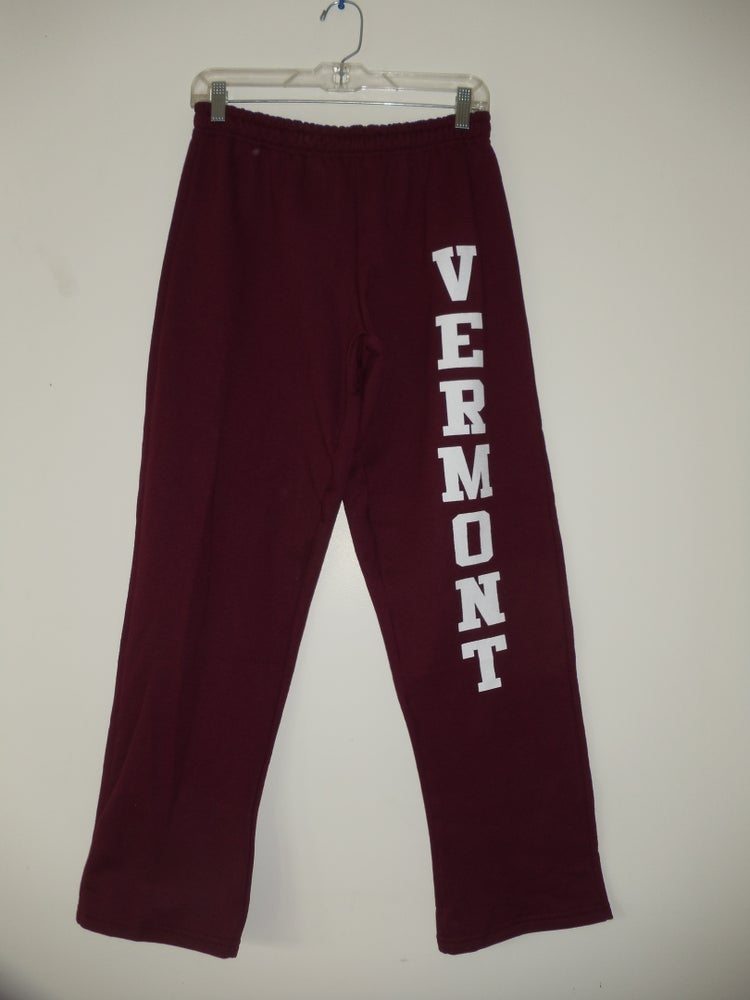 Image of Vermont Sweatpants 8oz - White on Maroon - Vermont clothing - 802 clothing - 802 store