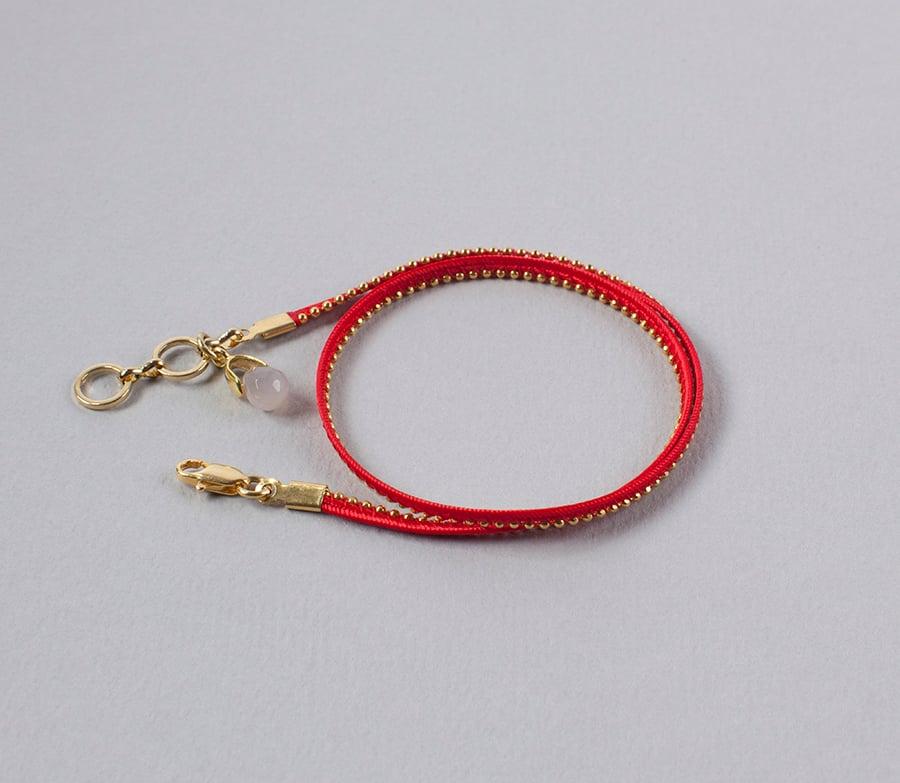 Image of bracelet deux tours rouge et or