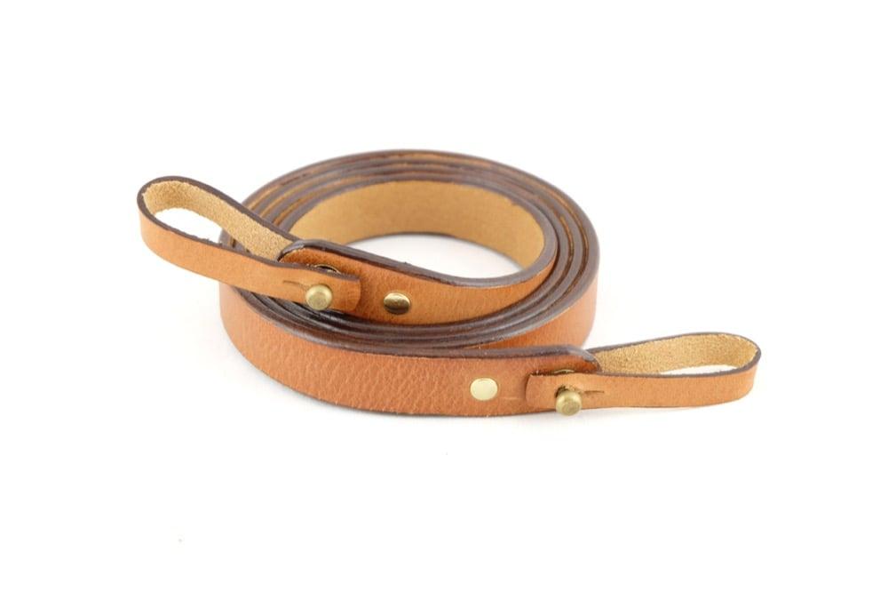 Image of Leather camera shoulder strap whiskey