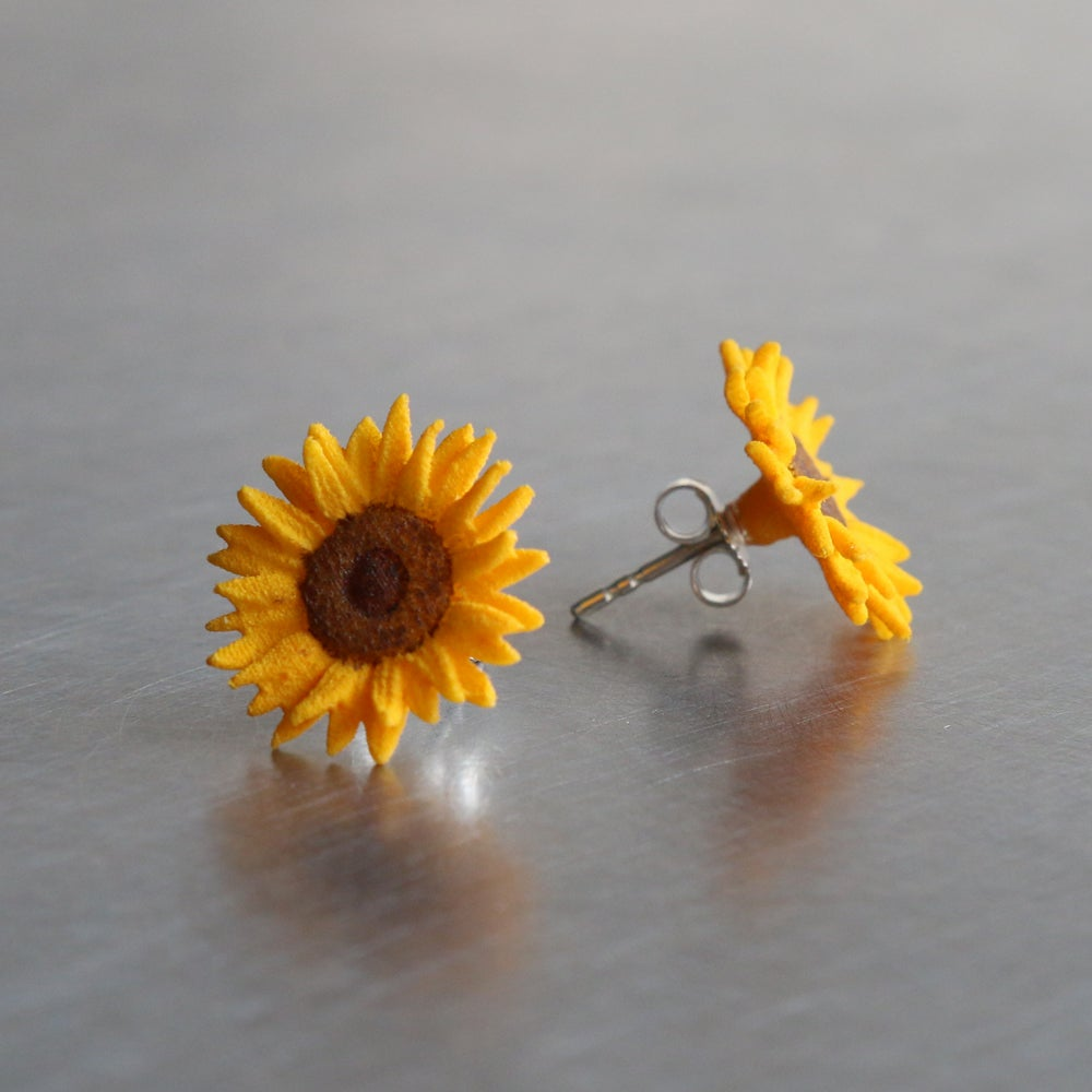 Image of 3D printed Earrings Van Gogh Sunflower
