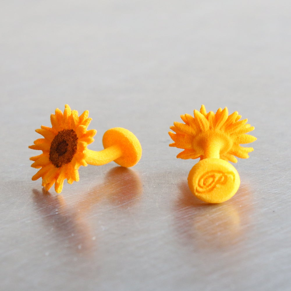 Image of 3D printed Cufflinks Van Gogh Sunflower