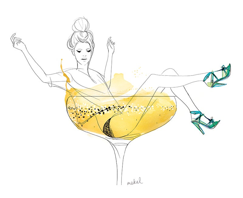 Image of Girl in a champagne glass