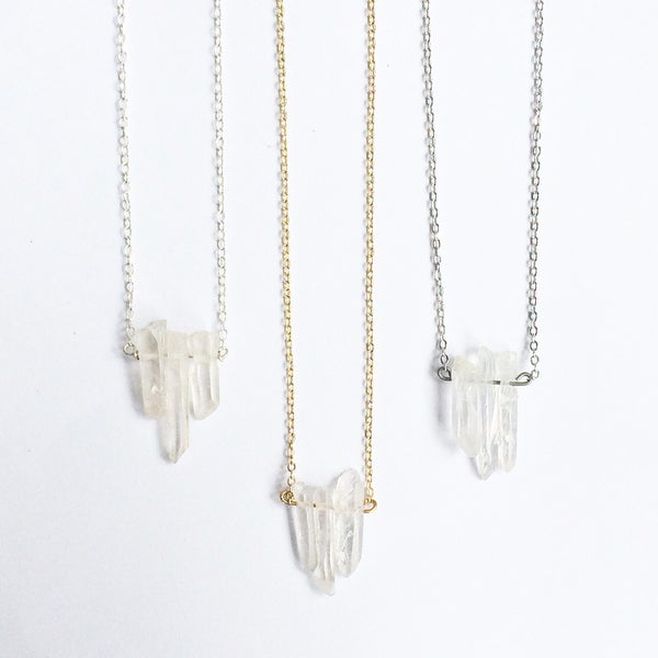Image of Glacier Trio - Aura / cloudy clear quartz - Sterling Silver / Plated