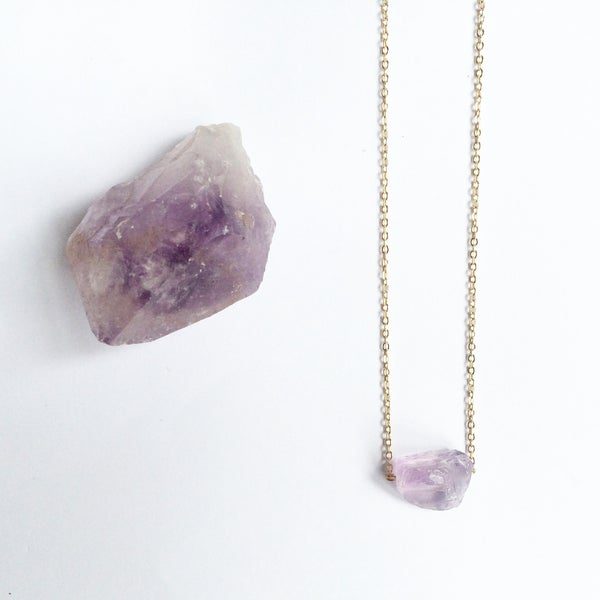 Image of Amethyst Nugget Necklace - Sterling Silver, Gold or Silver Plated