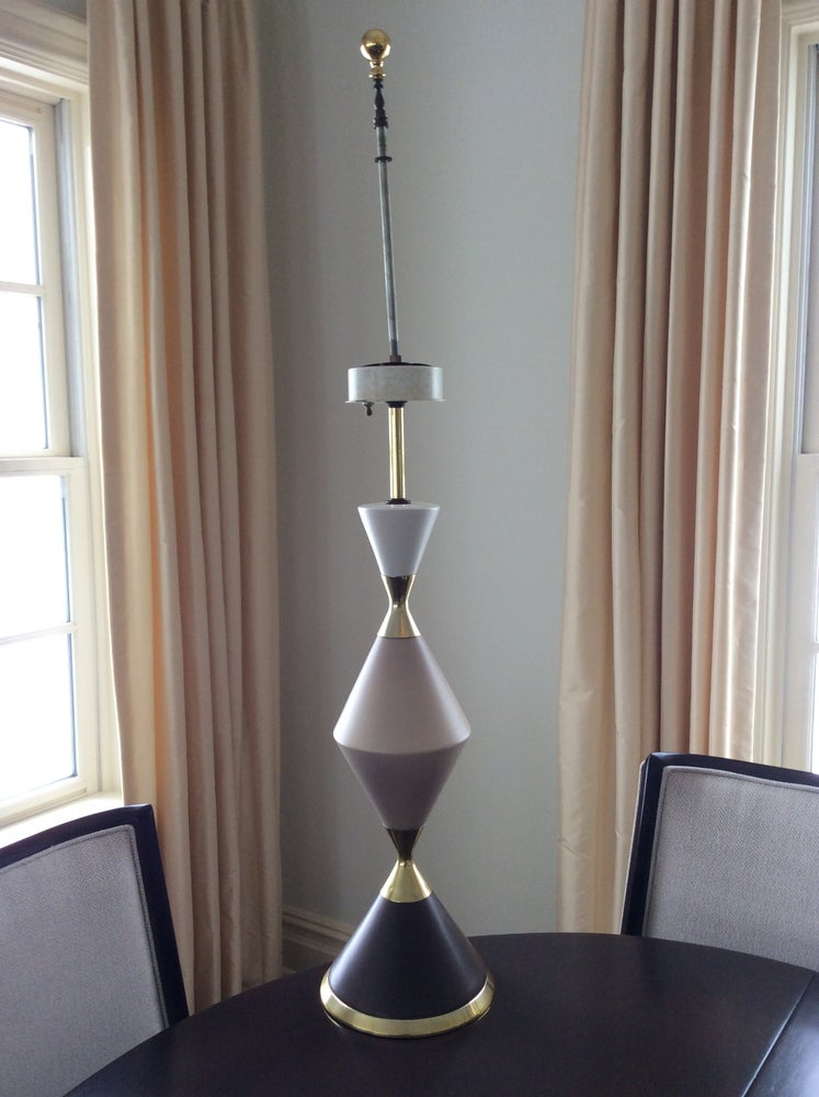 Image of GERALD THURSTON TRI-COLORED PORCELAIN HOURGLASS LAMP FOR LIGHTOLIER