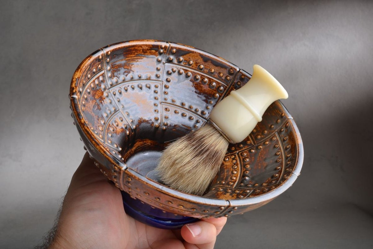 Image of Shaving Bowl Made To Order Rust Brown Sheet Metal Shaving Bowl by Symmetrical Pottery