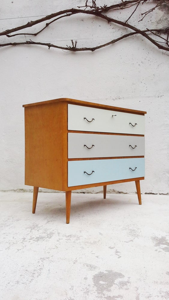 Image of Petite commode bois blond-vintage