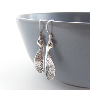 Image of Sycamore Seed Silver Earrings