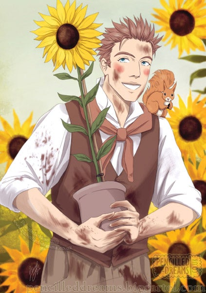 "Image of ""Ernest's Sunflowers"" A5 Postcard/Note card, print"