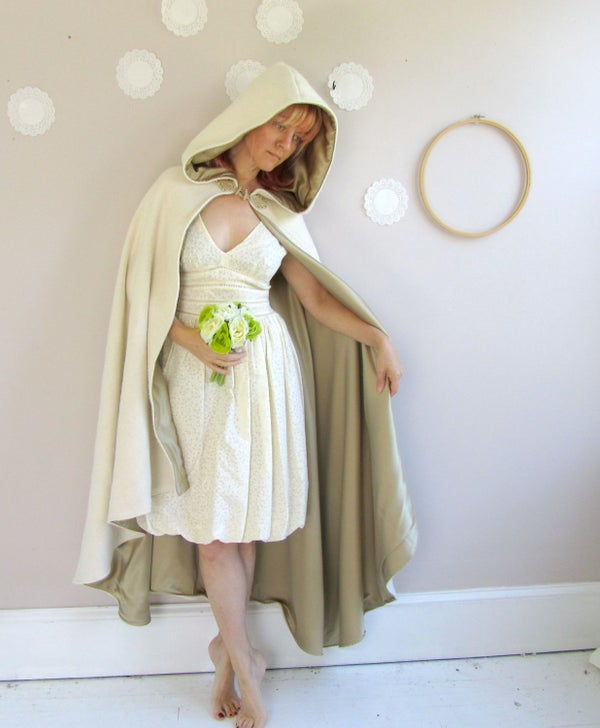Image of Long Bridal Cape in wool or velvet