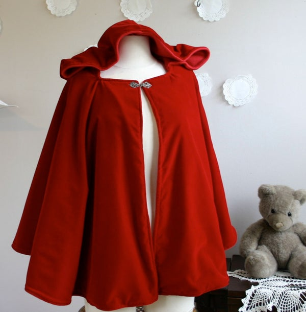 Image of Red Riding Hood Cloak in wool or velvet