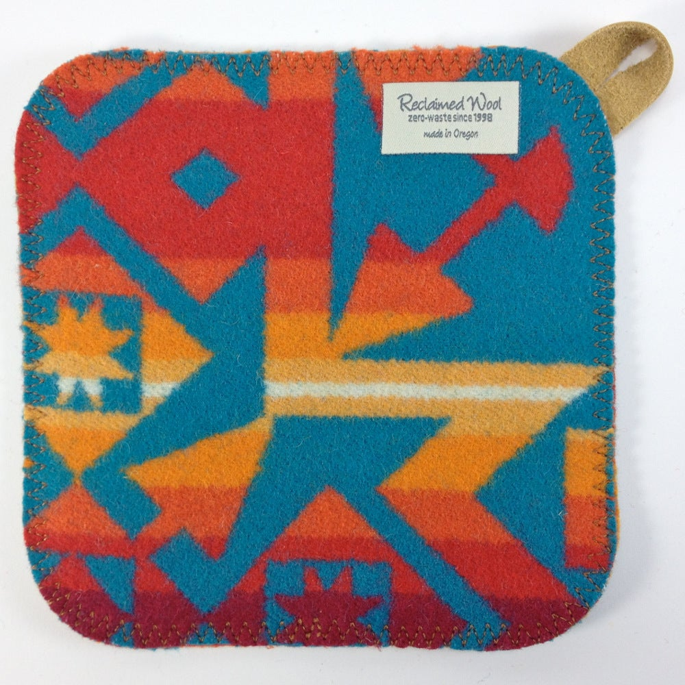 Image of Western Wool Potholder - Orange/Turquoise