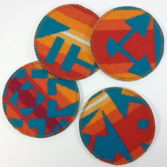 Image of Wool & Leather Coasters - Orange/Turquoise
