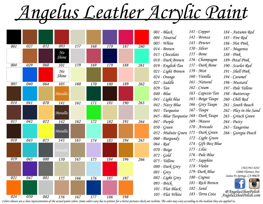 Image of 10er Set Angelus Acrylic Farbe 29.5ml / 10x 1oz bottles Acrylic Paint