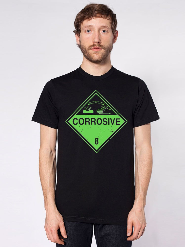 Image of Corrosive Warning T - Sci-fi Industrial Hazardous Shirt