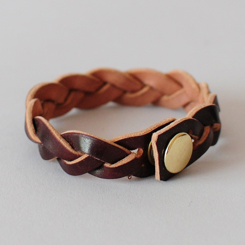 Leather Braided Bracelet Horween S Cordovan No 8 The Ashdown Work Co