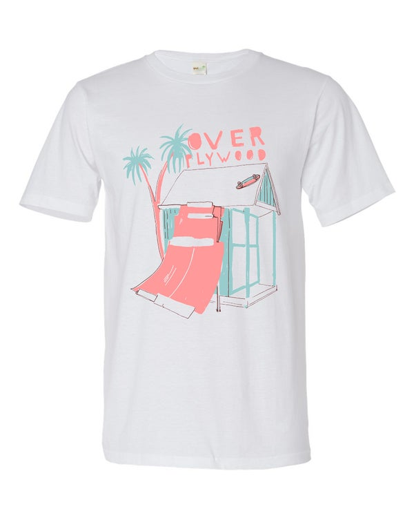 Image of Over Ply Wood/Furr/Exist collaboration Langland beach hut t-shirt