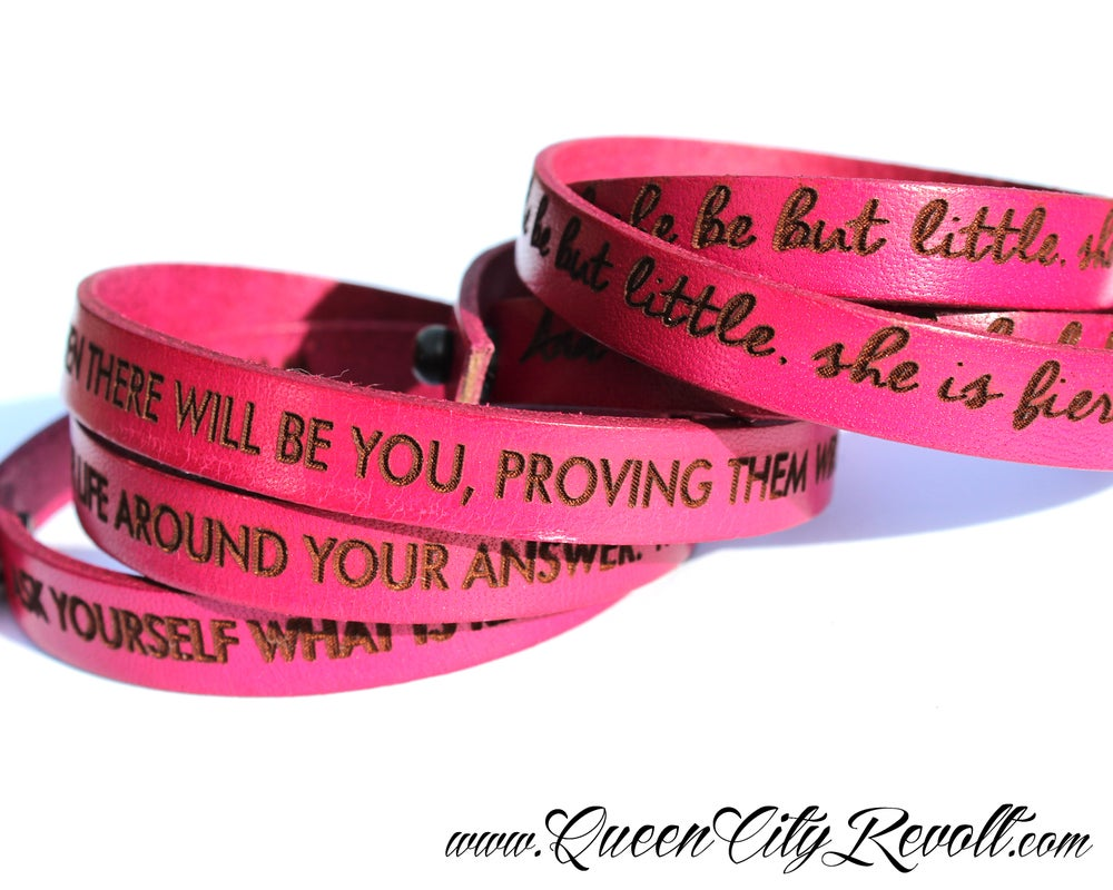 Image of Pink Leather Custom Engraved Wrap Bracelet, Script Text