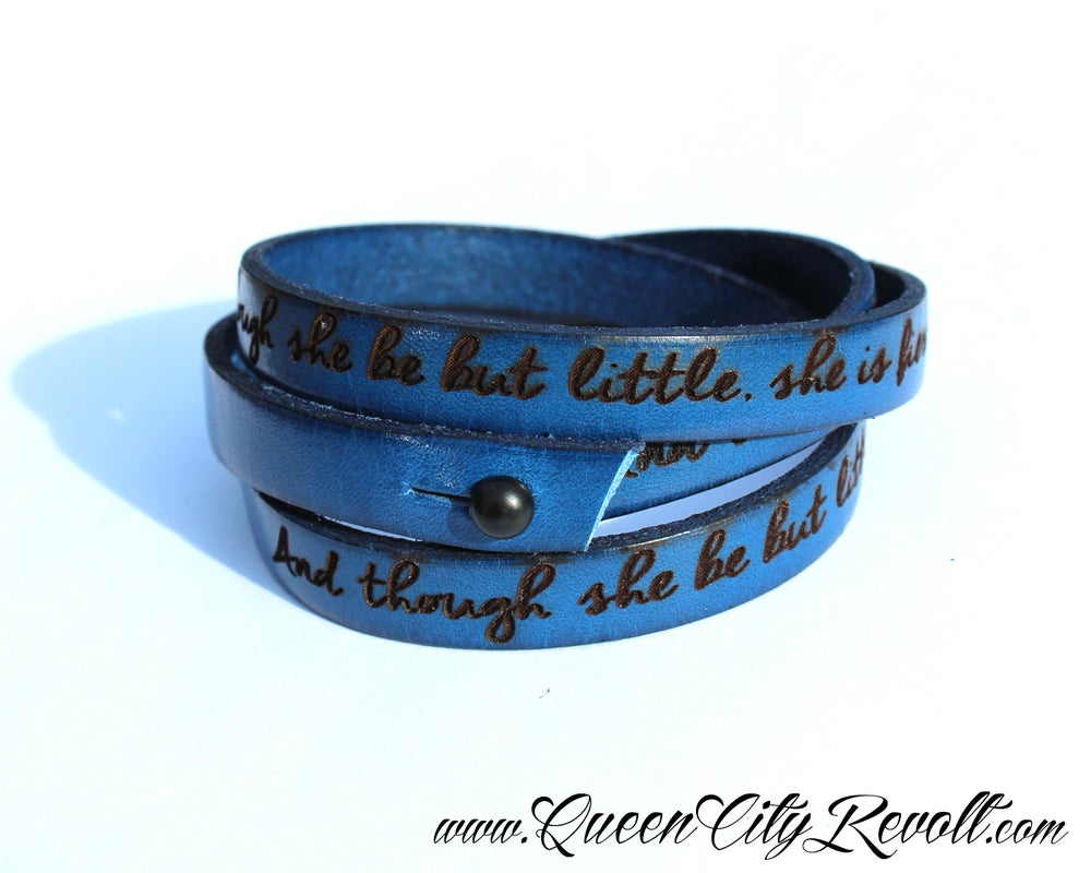 Image of Blue Leather Custom Engraved Wrap Bracelet, Script Text