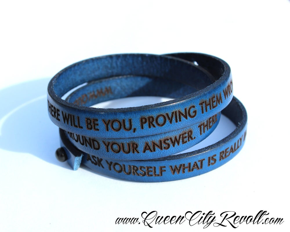Image of Blue Leather Custom Engraved Wrap Bracelet, Block Text
