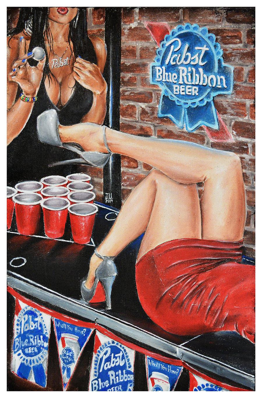Image of JEREMY WORST PBR Beer Pong Original Artwork Signed Print