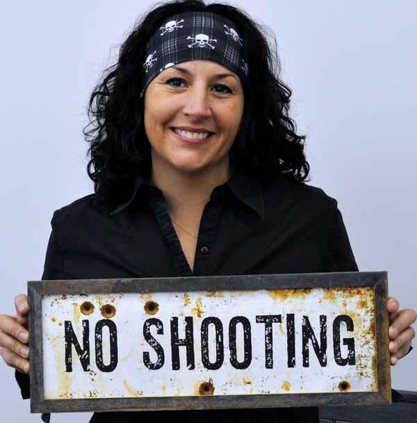 Image of No Shooting Sign - Metal with Reclaimed Wood Frame