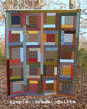 """Image of lap quilt - 47"""" x 38"""" - framed square - farmhouse"""