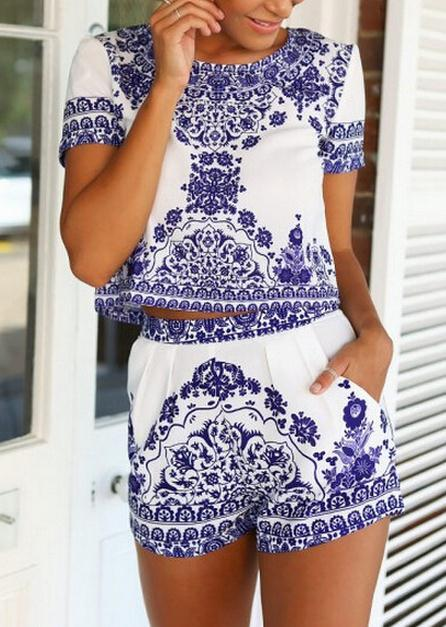 Image of CUTE BLUE TWO PIECE ROMPER