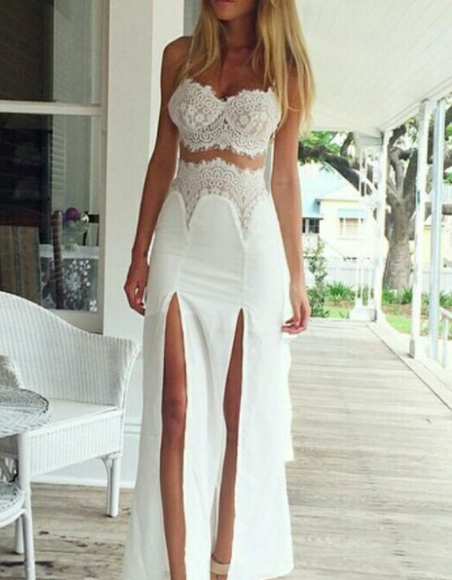 Image of HIGH WAIST FORK TWO PIECE LACE SEXY ELEGANT DRESS HIGH QUALITY
