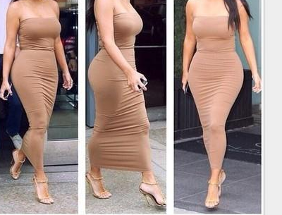 Image of CUTE PURE COLOR STRAPLESS DRESS BROWN