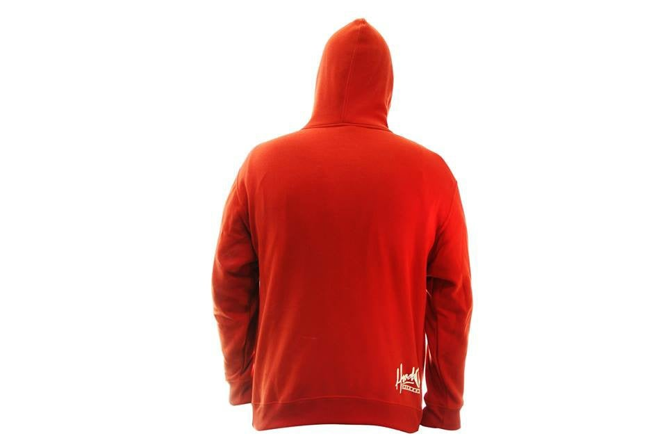 Image of SMOKABLE HOODIE - WHITE HOOD ON RED - WHITE PIPE