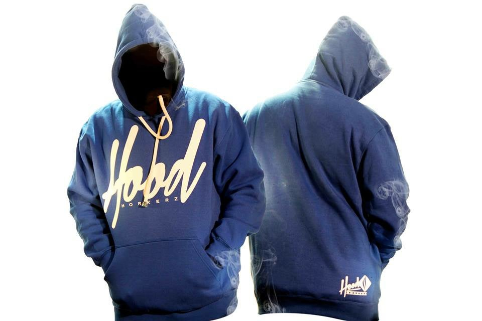 Image of SMOKABLE HOODIE - WHITE HOOD ON ROYAL BLUE - WHITE PIPE